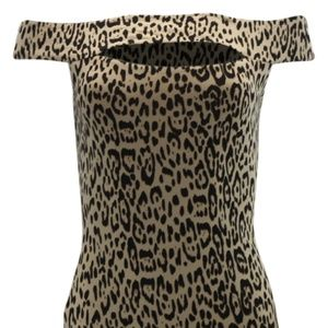 Guess Navine Off Shoulder Dress Animal Print Dark